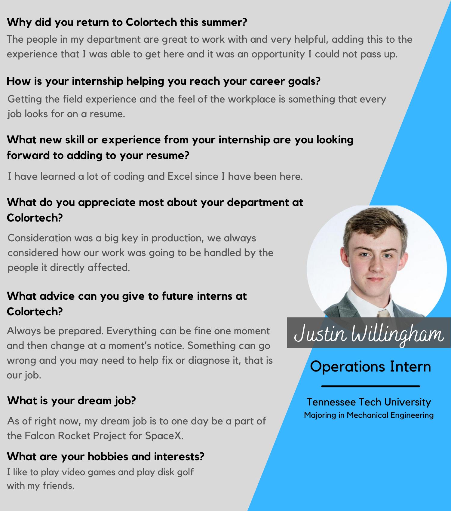 Justin Willingham, Operations Intern