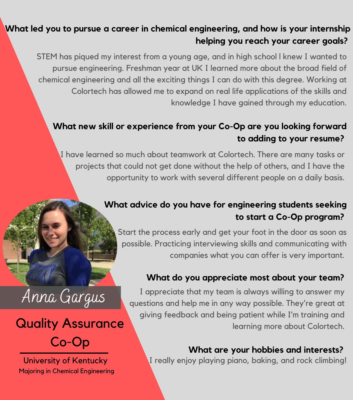 Anna Gargus, Quality Assurance Co-Op